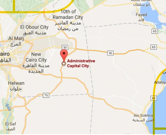 موقع العاصمة الإدارية الجديدة على الخريطة